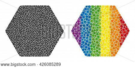 Rounded Hexagon Mosaic Icon Of Round Items In Various Sizes And Rainbow Color Tinges. A Dotted Lgbt-