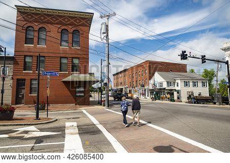 Saco, Maine - June 26, 2021: The Historic Brick Buildings Downtown Saco, Maine, United States