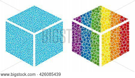 Sugar Cube Composition Icon Of Round Dots In Different Sizes And Rainbow Colorful Color Tints. A Dot