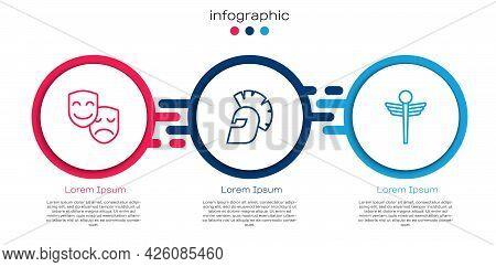 Set Line Comedy And Tragedy Masks, Greek Helmet And Caduceus Snake Medical. Business Infographic Tem