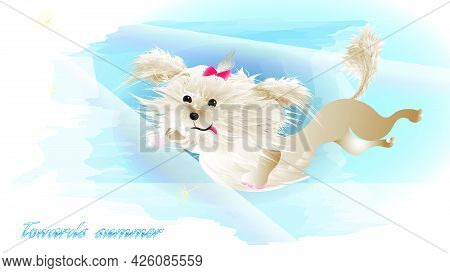 A Cute White Puppy Soars In The Clouds Above The Sea. Vector Illustration For The Decoration Of Chil