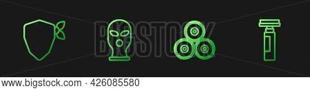 Set Line Paint Spray Can, Vandal, Balaclava And Marker Pen. Gradient Color Icons. Vector