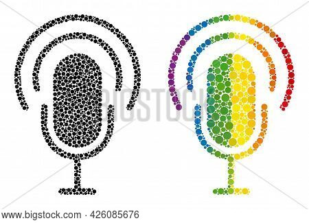 Podcast Composition Icon Of Spheric Blots In Variable Sizes And Rainbow Color Shades. A Dotted Lgbt-