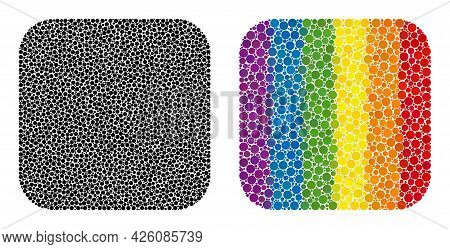 Rounded Square Mosaic Icon Of Filled Circles In Various Sizes And Rainbow Colored Color Tinges. A Do