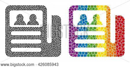 Newspaper Collage Icon Of Spheric Dots In Variable Sizes And Rainbow Colored Color Tints. A Dotted L
