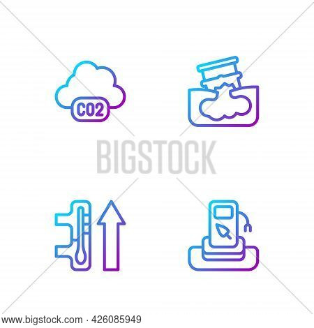 Set Line Petrol Or Gas Station, Global Warming, Co2 Emissions Cloud And Barrel Oil Leak. Gradient Co