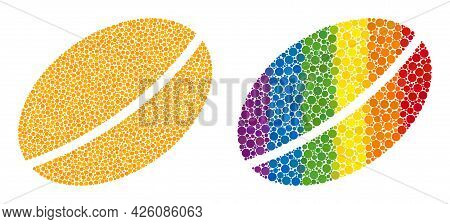 Wheet Seed Composition Icon Of Spheric Dots In Variable Sizes And Rainbow Colored Color Tones. A Dot