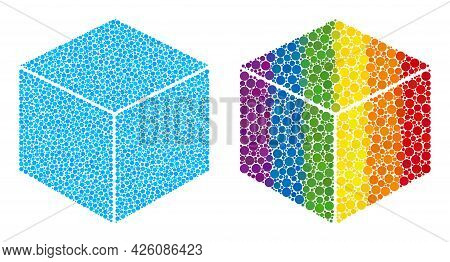 Sugar Cube Collage Icon Of Round Items In Various Sizes And Spectrum Colored Shades. A Dotted Lgbt-c