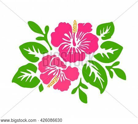 Tropical Exotic Hibiscus Pink Flowers Vector Tattoo Silhouette Drawing Illustration.hawaiian Floral