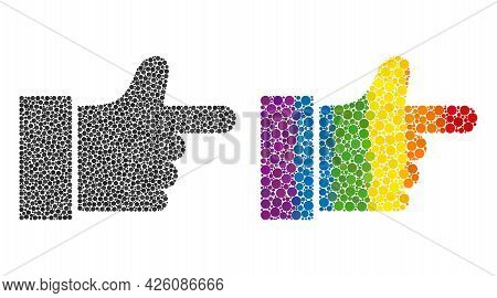 Index Finger Collage Icon Of Round Dots In Variable Sizes And Rainbow Color Tinges. A Dotted Lgbt-co