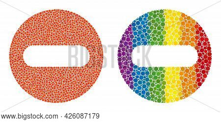 Remove Collage Icon Of Round Dots In Different Sizes And Rainbow Colored Shades. A Dotted Lgbt-color