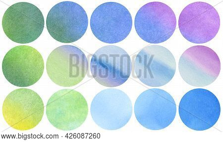 Abstract Watercolor Circles Collection In Blue Violet Green Yellow Colors. Watercolor Stains Set Iso