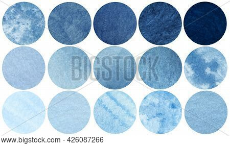 Abstract Blue Sea And Sky Watercolor Circles. Watercolor Stains Set Isolated On White Background. Wa