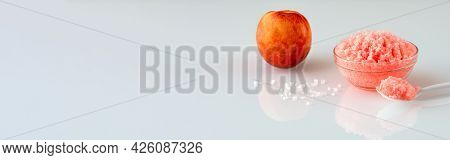 Panoramic Banner With Creamy Salt Body Scrub And Peach In The Background, Like A Concept Of Smooth S