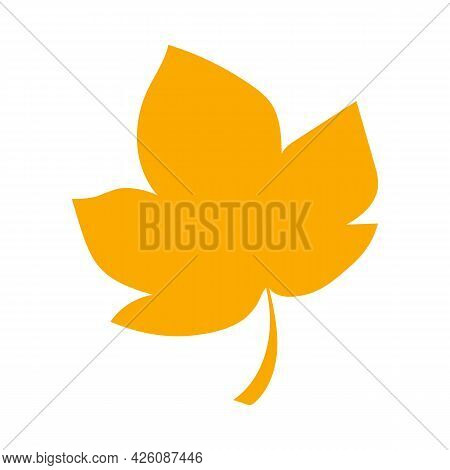 Autumn Leaf, Herbal Element. Fall Orange Sycamore Leaf. Can Be Used As Sign, Symbol, Icon. Autumn Bo