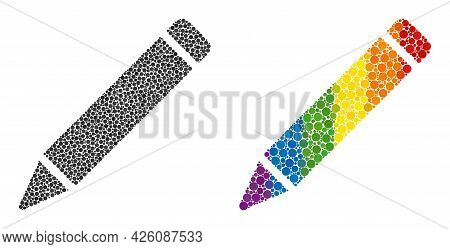 Pencil Collage Icon Of Round Dots In Variable Sizes And Rainbow Color Tints. A Dotted Lgbt-colored P