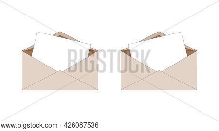 Delivery Of Correspondence In Envelope. Ordinary Brown Paper Isolated Envelopes With Letter Inside.