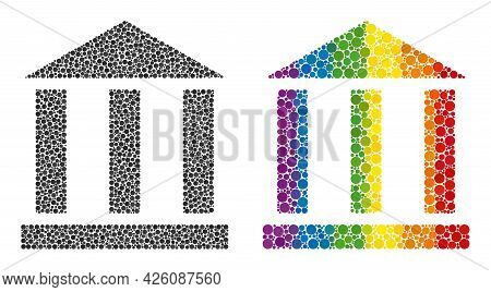 Library Building Collage Icon Of Filled Circles In Variable Sizes And Rainbow Bright Color Tints. A