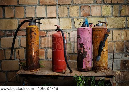Old Multicolored Fire Extinguishers Available In Fire Emergencies Fire Extinguisher In Chernobyl Exc