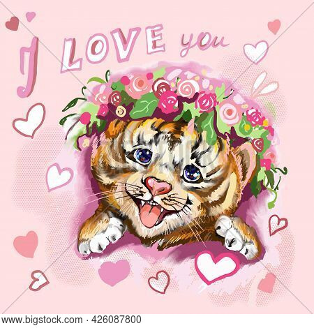 Tiger Baby Head With Hearts And Flowers. Hand-painted Watercolor Style, Black Ink Line Art. Young Pr