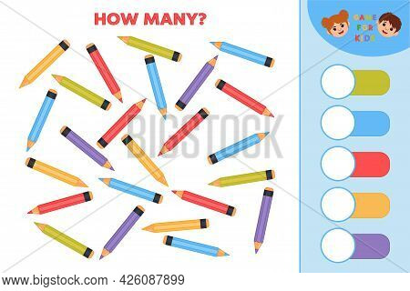 Educational Game For Kids. Count Quantity Of Pencils And Write Numbers. Developing Counting Skills.