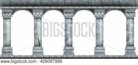 Stone Arch Vector Illustration, Marble Ancient Roman Colonnade, Greek Antique Pillars Isolated On Wh