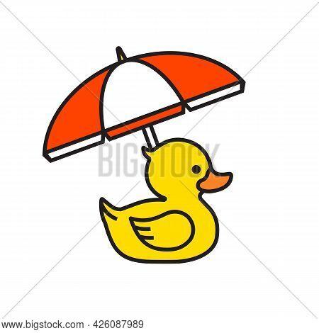 Yellow Rubber Duck Icon With Beach Umbrella