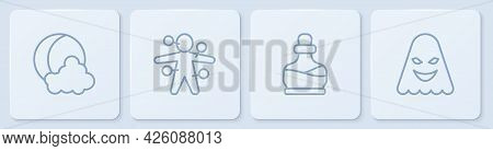 Set Line Moon And Stars, Bottle With Potion, Voodoo Doll And Ghost. White Square Button. Vector