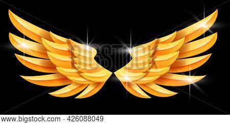 Golden Angel Vector Wings Illustration, Fantasy Eagle Metal Emblem, Luxury Abstract Success Symbol.