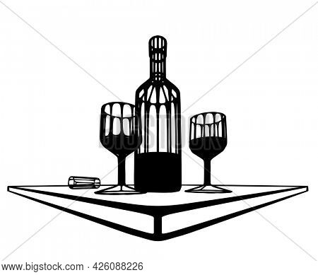 An illustration of a bottle of wine and two glasses on a table. 3d illusion