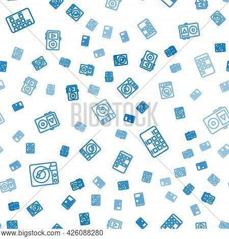 Set Line Vinyl Player With Vinyl Disk, Music Equalizer And On Seamless Pattern. Vector