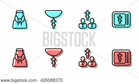 Set Line Priest, Monk, Christian Cross Chain And Online Church Pastor Preaching Icon. Vector