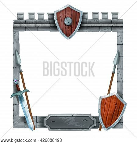 Game Stone Ui Frame, Vector Medieval Castle Interface Element, Wooden Old Shield, Sword, Spear. Rpg