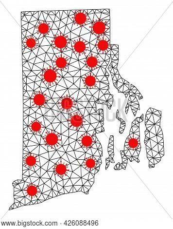 Mesh Polygonal Map Of Rhode Island State Under Infection. Vector Model Is Created From Map Of Rhode