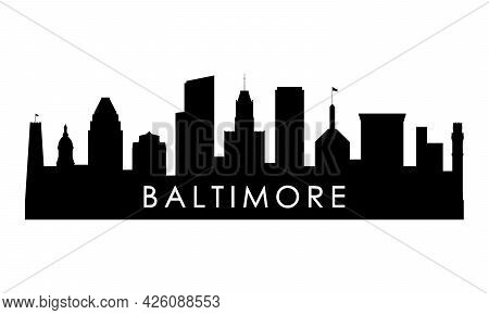 Baltimore Skyline Silhouette. Black Baltimore City Design Isolated On White Background.