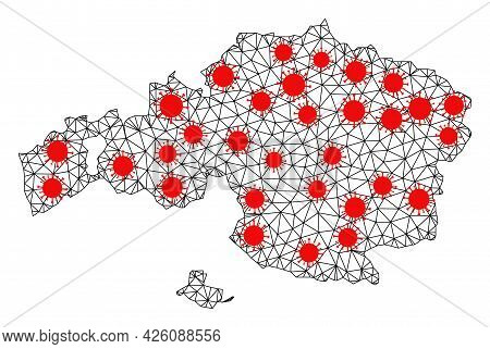 Carcass Polygonal Map Of Vizcaya Province Under Infection. Vector Structure Is Created From Map Of V