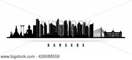 Bangkok Skyline Horizontal Banner. Black And White Silhouette Of Bangkok, Thailand. Vector Template