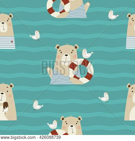 Seamless Pattern With Cute Bears. Funny Animals Sailor With Seagull And Lifebuoy And Eats Ice Cream