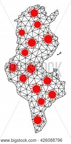Wire Frame Polygonal Map Of Tunisia Under Outbreak. Vector Structure Is Created From Map Of Tunisia