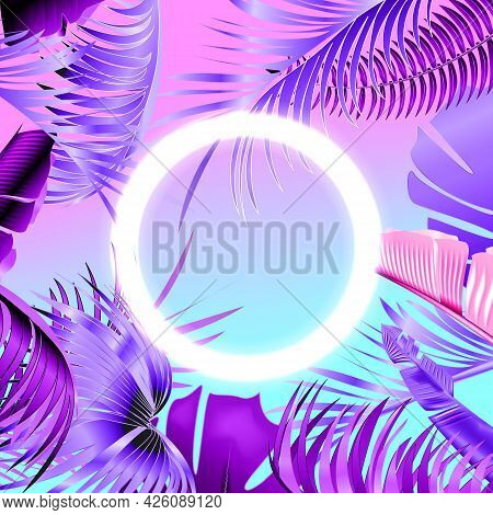 Blue And Violet Tropical Party Design With Palm Leaves And Neon Light.