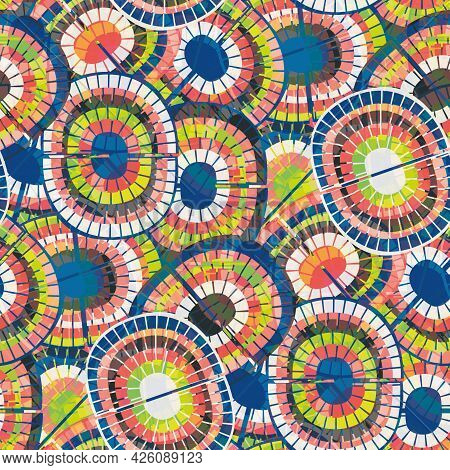 1970s Style Rainbow Seamless Vector Pattern Background. Backdrop With Mosaic Style Oval Pairs Of Rai