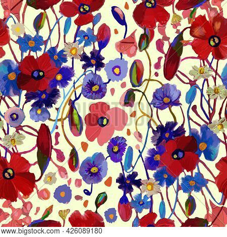 Simple Cute Pattern With Small Poppies Flowers. Millefleurs. Drawn Floral Seamless Meadow Background