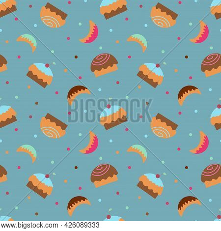 Wallpaper With Cupcakes, Sweets And Sweet Horns On A Blue Background. Textile Background With Sweets