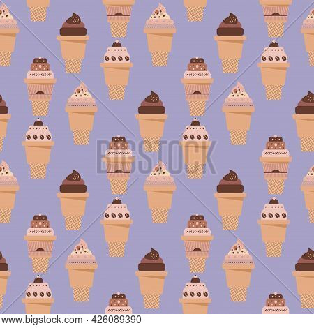 Summer Seamless Pattern With  Ice Cream,  Waffle, Sweet Cupcakes,  Chocolate Ice Cream And Fruit Muf