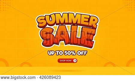 Summer Sale Banner Template With Special Price Discounts Of Up To 50%.  Summer Sale Text Effect Read