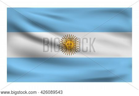 Realistic National Flag Of Argentina. Current State Flag Made Of Fabric. Vector Illustration Of Lyin