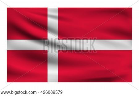 Realistic National Flag Of Denmark. Current State Flag Made Of Fabric. Vector Illustration Of Lying