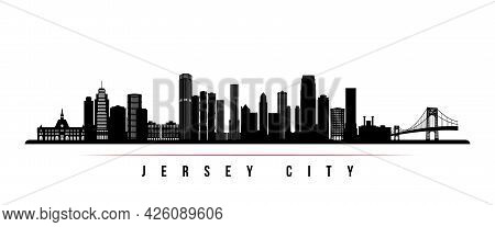 Jersey City Skyline Horizontal Banner. Black And White Silhouette Of Jersey City, New Jersey. Vector