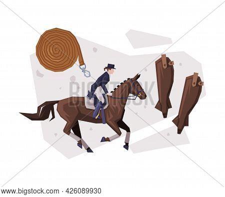 Man Rider Competing In Dressage, Equestrian Sport Equipment Vector Illustration