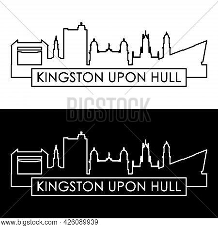 Kingston Upon Hull Skyline. Linear Style. Editable Vector File.